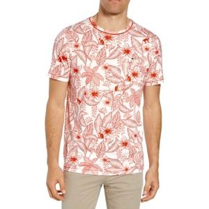 TED BAKER Bengel Floral Print Red Monkey Stretch Tee Shirt